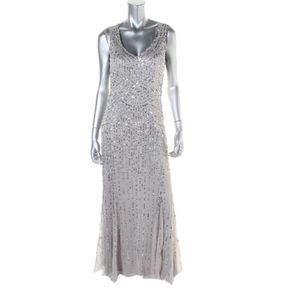 Patra Silver Sequined Prom Sheer Evening Dress